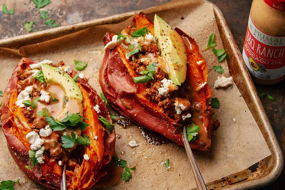 Sloppy Joe Stuffed Sweet Potatoes